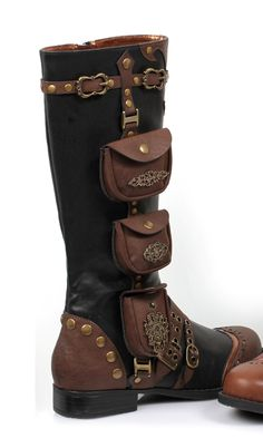 c45a4716ca3da1 Ladies Steampunk Gypsy Boho Boots One Inch Heels - I just love the  functionality of the pockets here