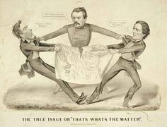 """In a rare pro-Democrat cartoon presidential aspirant George Brinton McClellan is portrayed as the intermediary between Abraham Lincoln and Confederacy president Jefferson Davis. Gen. McClellan is in the center acting as a go-between in a tug-of-war over a """"Map of the United States"""" engaged in by Lincoln (left) and Davis. He holds the two men by their lapels and asserts, """"The Union must be preserved at all hazards!"""""""