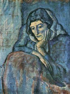 Pablo Picasso, Contemplative Woman In Blue, Blue Period