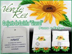 "Kitchen cloth and hand towel - ""Sunflower"" (100% cotton) with crochet beak (100% cotton thread)"