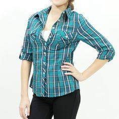 Green plaid button-up woven shirt.