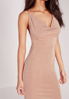Missguided - Cowl Front Cross Back Strappy Midi Dress Nude