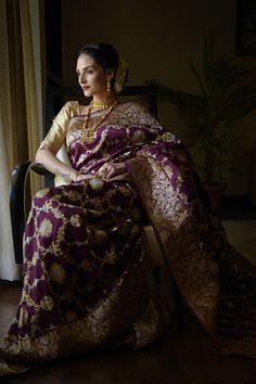 Talking Threads presents an exclusive capsule of bridal and special occasion wear sarees, each a timeless treasure of hand woven Benares heritage. From Kimkhab brocade silks, Kadhua Zari motifs to Meenakari and tanchoi weaves, we have a very spec Designer Dress For Men, Designer Wear, Banaras Sarees, Stylish Blouse Design, Indian Attire, Indian Wear, Soft Silk Sarees, Indian Wedding Outfits, Saree Styles