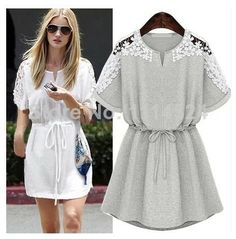Zara2014 summer women's fashion elastic waist lace patchwork strapless short-sleeve dress  $23.53