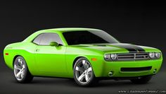Dodge Challenger - I want a black one with a small hot pink stripe down the body line on the sides.  <3