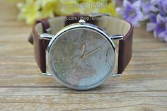 World map silver watch brown leather bracelet by BraceletTribal, $3.99 Simple handmade leather jewelry