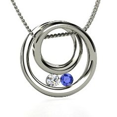 Inner Circle Pendant, Round Diamond Sterling Silver Necklace with Sapphire from Gemvara