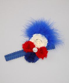 Take a look at this Overcash Blue & Red Feather & Lace Headband by Overcash on #zulily today!