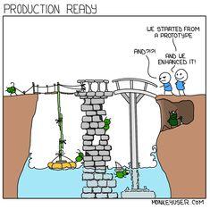 Software development satire in a web comic. Programming Humor, Computer Programming, Computer Science, 21st Century Schizoid Man, Tech Humor, Machine Learning, Software Development, Satire, Geek Stuff