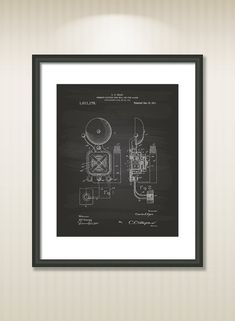 Fire Alarm 1911 Patent Art Illustration - Drawing - Printable INSTANT DOWNLOAD - Get 5 colors background