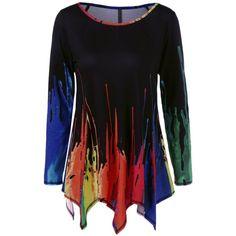Splatter Paint Handkerchief Tunic T Shirt ($17) ❤ liked on Polyvore featuring tops, shirts, shirt top and splatter shirt