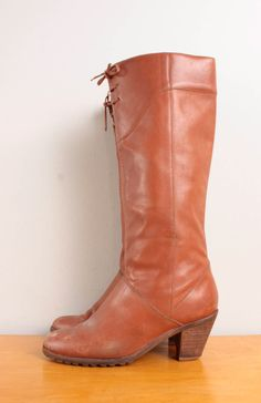 25eae0605f23 1970s Boots   Orangeish Tan Leather Low Heel Riding Boots w  Lace Detail -  Womens 7 - Stacked Heel Chestnut Brown Pull On 70s Laced Up Boot