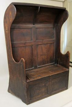 """Joined Hooded Settle English, 1700-20. """"The ruddy brick floor smiled up at the smoky ceiling; the oaken settles, shiny with long wear, exchanged cheerful glances with each other""""/ THE WIND IN THE WILLOWS / Get more fun, hands-on ways to make great books MEMORABLE, and MEANINGFUL at  http://www.litwitsworkshops.com"""
