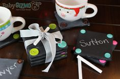 DIY Chalkboard Coasters by Baby Gizmo New Crafts, Diy And Crafts, Arts And Crafts, Craft Corner, Kids Corner, Crafty Craft, Crafting, Diy Gifts Just Because, Diy Craft Projects