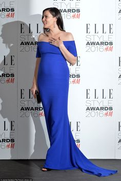 Exquisite: Heavily pregnant Liv Tyler was bold and beautiful in bright blue to break up th...
