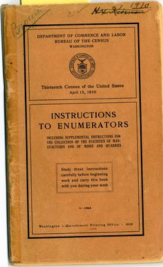 DYK in 1910, all census enumerators received this instruction manual to guide them through the 32 questions on the General Population Schedule? In this census, for the first time, enumerators recorded the language spoken by each household member. #ArtifactFriday