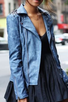 #summer #fashion / denim print leather