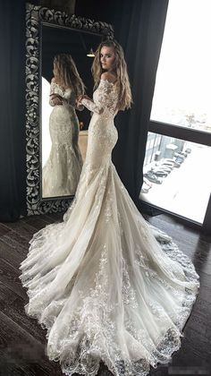 Exquisite Lace Appliques Beaded Wedding Dresses,Mermaid Sheath Beautiful Bridal Dresses,Sweep Train Wedding Gown