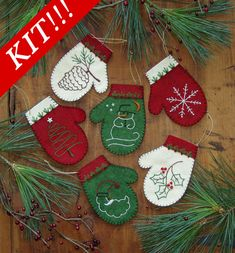 Mittens Kit ROG-0508K A embroidery kit for six mitten ornaments.