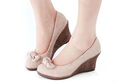 Career Stylish Canvas Women's Wedge Shoes With Solid Color and Bowknot Design