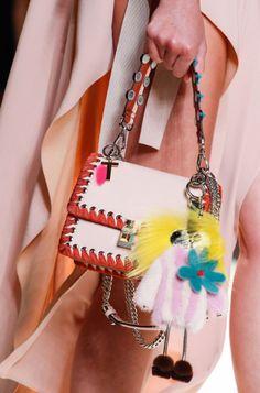 See all the Details photos from Fendi Spring/Summer 2017 Ready-To-Wear now on British Vogue Fendi Purses, Fendi Bags, Purses And Handbags, Mini Handbags, Fashion Handbags, Fashion Bags, Milan Fashion, Best Designer Bags, Designer Handbags