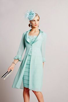 Ronald Joyce 991037 Bandage Style Dress & Frock Coat in Slate & Turquoise