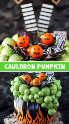 DIY Cauldron Pumpkin Candy Holder Welcome trick or treaters on Halloween night with this DIY Cauldron Pumpkin candy holder filled wit Dollar Tree Halloween, Halloween Dinner, Holidays Halloween, Halloween Treats, Halloween Diy, Halloween Tattoo, Painted Halloween Pumpkins, Halloween Witches, Halloween Spider
