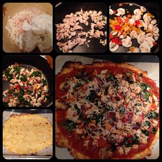 Cauliflower pizza crust. I didn't measure anything but here it is. Shred the cauliflower or grate it. Cover and put in microwave for 4 minutes. Let it cool off. Use a cheesecloth and drain the water. Mix 1 egg, mozzarella cheese, parm cheese, garlic salt, pepper, spices and create a dough. Bake in oven at 450. Sauté your toppings: I used kale, mushrooms, onions, bell peppers, ground turkey, basil, cilantro and tomatoes.  Add marinara sauce and toppings and bake to liking. Of course made w…
