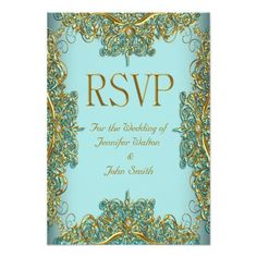 RSVP Response Wedding Ornate Gold Blue Personalized Invite