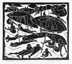 Artist: HAWKINS, Weaver   Title: Shady beach   Date: 1963   Technique: linocut, printed in black ink, from one block   Copyright: The Estate of H.F Weaver Hawkins