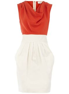 Orange cowl 2 in 1 dress