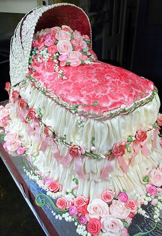 unbelievable....looks completely real!  Baby Bassinet  3-D cake.... Mostly edible design!