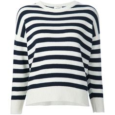 Saint Laurent Cashmere Striped Sweater ($1,490) ❤ liked on Polyvore featuring tops, sweaters, shirts, kirna zabete, 3/4 length sleeve shirts, striped shirt, blue cashmere sweater, ribbed shirt and shirt sweater