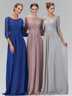 2016 Long A-line Silver Gray Modest Chiffon Lace Bridesmaid Dresses With 3/4 Sleeves Formal… - #blouse