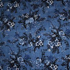 Denim Floral Print Cotton Sateen Dress Fabric Material (Mid Denim Blue Ground) in Crafts, Fabric   eBay