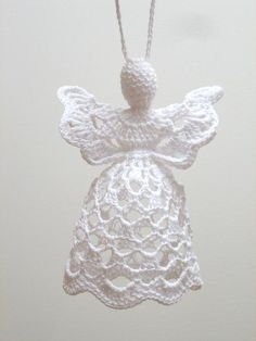 This white crochet angel is handmade from cotton and MADE TO ORDER. It is about 11 cm tall and about cm wide. Other colors of angel or ribbon easy angel decoration ideas for Christmas I am really going to attempt this one, but maybe with a big p Christmas Angel Decorations, Crochet Christmas Ornaments, Holiday Crochet, Crochet Snowflakes, Christmas Angels, Christmas Crafts, Christmas Ideas, Christmas Tree, Thread Crochet