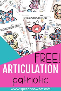 Your speech therapy students will love these fun color, cut, and glue articulation activities! This packet has a patriotic theme … Articulation Therapy, Articulation Activities, Speech Therapy Activities, Language Activities, Preschool Activities, Speech Therapy Themes, Speech Language Therapy, Speech And Language, Speech Pathology
