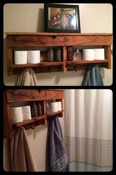 Our new Rowell rack Laundry In Bathroom, Bathroom Rack, Bathroom Vanities, Bathroom Storage, Bathrooms, Pallet Projects, Home Projects, Craft Projects, Bathroom Layout