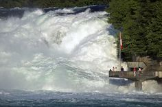 Europe's largest falls Rhine Falls in Switzerland Rhine Falls Switzerland, Largest Waterfall, Alpine Lake, Places Of Interest, Fall Photos, Travel And Tourism, Weekend Trips, Places To See, Things To Do
