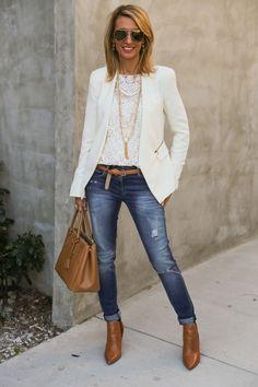 30 Inspiring Ways To Wear A White Blazer 2018 | FashionTasty.com