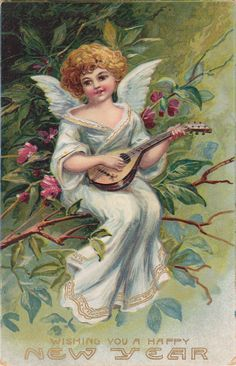Wings of Whimsy: New Year's Music Cherub Citar - free for personal use #vintage…