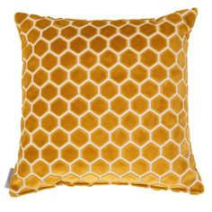 Mustard cushion, honeycomb pattern, honeycomb pattern cushion Zuiver Monty Honeycomb Cushion: Liven up your sofa with this honeycomb patterned cushion in mustard yellow soft velvet