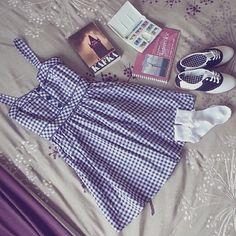 ♥Gingham Dress ♥LACE TRIM ANKLE SOCKS ♥Saddle Oxfords