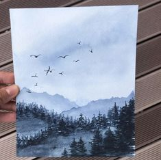 Watercolor Drawing, Watercolor And Ink, Watercolor Paintings, Art Drawings Sketches Simple, Pencil Art Drawings, Landscape Drawings, Land Scape, New Art, Amazing Art