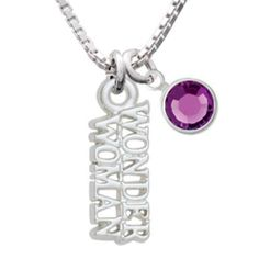 Amazon.com: Wonder Woman Charm Necklace with Amethyst Crystal Drop: Delight & Co.: Jewelry