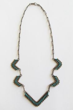 1940s Zuni necklace, turquoise & sterling silver