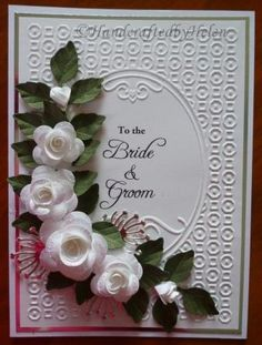 Handcrafted by Helen: White Roses Wedding Card