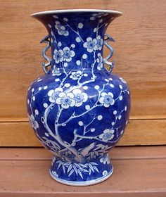 Antique Chinese Asian Signed Porcelain Blue White Chrysanthemum Vase | eBay