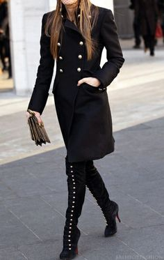 tall black boots & military jacket