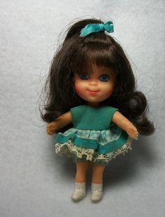 1968 Telly Viddle Liddle Kiddles Doll by Mattel - Blue Dress Brown Hair Blue Eyes - Rare Vintage Collectible Miniature Doll - Mini Doll Toy Retro Toys, Vintage Toys, Childhood Toys, Childhood Memories, Blue Hair, Brown Hair, Dark Brunette Hair, Mattel Dolls, Old Toys